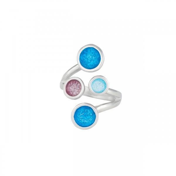 Χειροποίητο δαχτυλίδι ασήμι 950 επιπλατινωμένο με σμάλτο KON-10E2