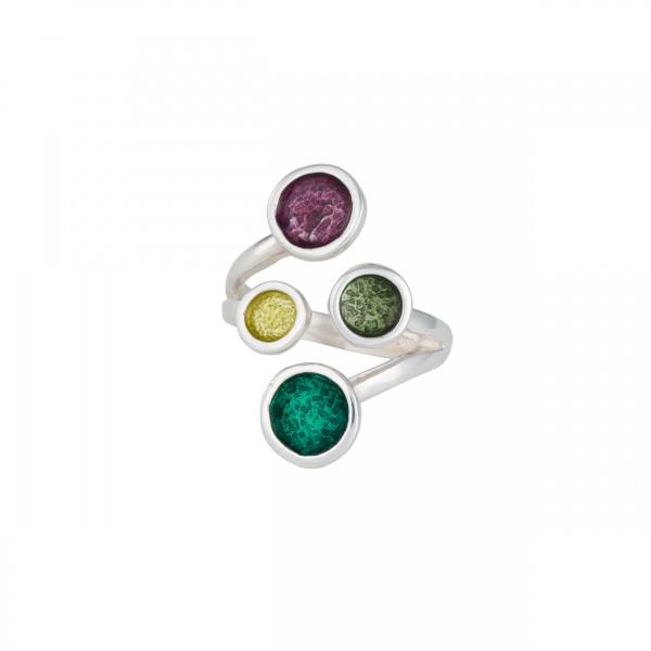 Χειροποίητο δαχτυλίδι ασήμι 950 επιπλατινωμένο με σμάλτο KON-10E10