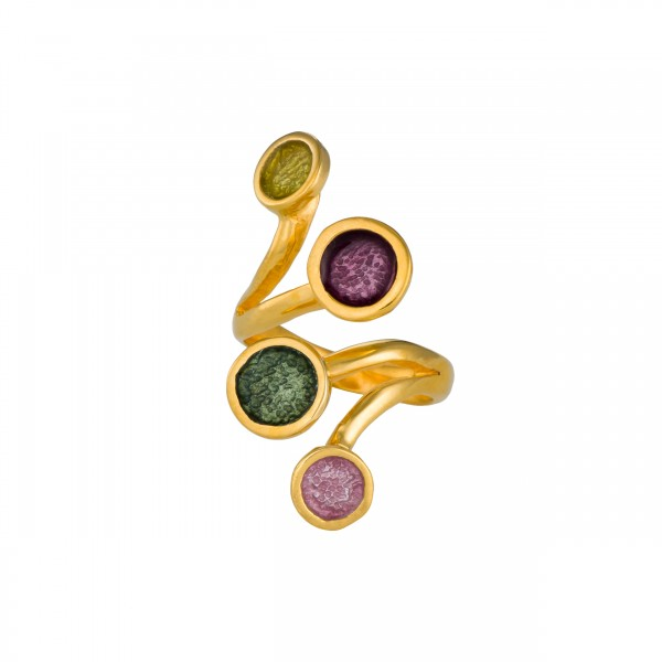Χειροποίητο δαχτυλίδι ασήμι 950 επιχρυσωμένο με σμάλτο KON-11E10X