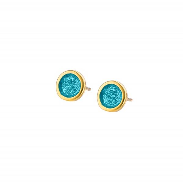 Χειροποίητα καρφωτά σκουλαρίκια κύκλοι μικροί ασήμι 950 με σμάλτο KON-S2SX