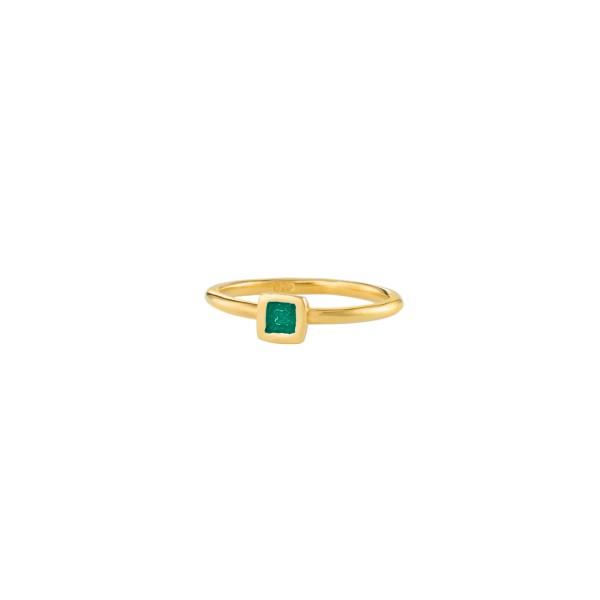 Χειροποίητο τετράγωνο μονόπετρο δαχτυλίδι ασήμι 950 με σμάλτο KON-123EX