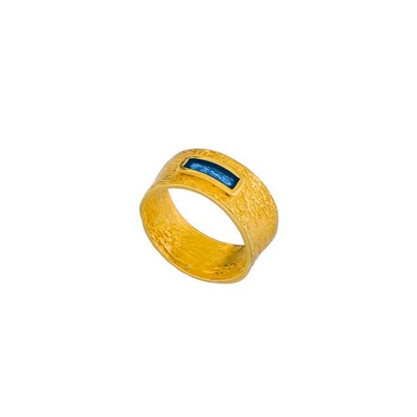 Χειροποίητο βυζαντινό σφυρήλατο δαχτυλίδι ασήμι 950 επιχρυσωμένο με σμάλτο KON-57E