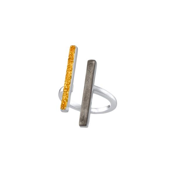 Χειροποίητο σφυρήλατο δαχτυλίδι ασήμι 950 τρίχρωμο KON-99ET