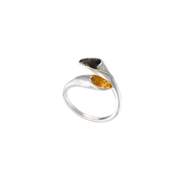 Χειροποίητο σφυρήλατο δαχτυλίδι ασήμι 950 τρίχρωμο KON-159ET