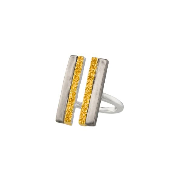 Χειροποίητο σφυρήλατο δαχτυλίδι ασήμι 950 τρίχρωμο KON-101ET