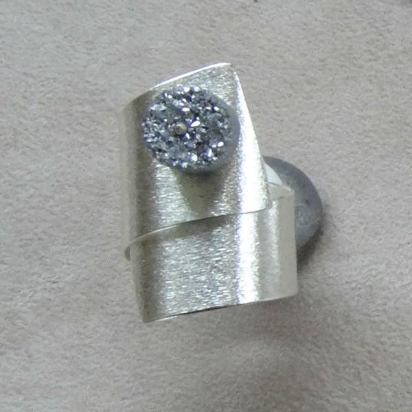 Δαχτυλίδι ασήμι 925 χειροποίητο ημιπολύτιμη πέτρα aqua aura