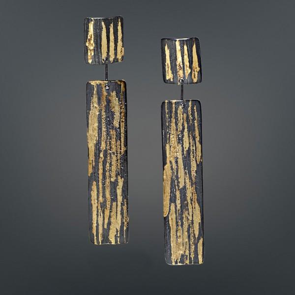 Σκουλαρίκια κρεμαστά 18Κ χρυσά χειροποίητα με ασήμι 925° οξειδωμένα