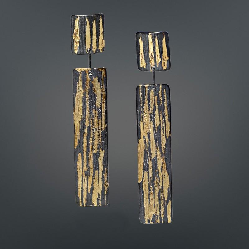 Σκουλαρίκια κρεμαστά 18Κ χρυσά χειροποίητα με ασήμι 925 οξειδωμένα