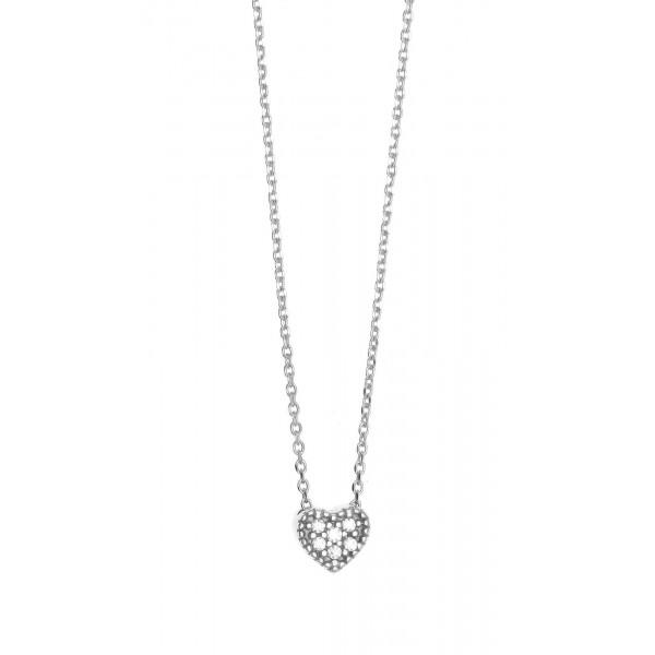 Κολιέ καρδιά ασήμι 925 επιπλατινωμένο με zirconia GRE-39842