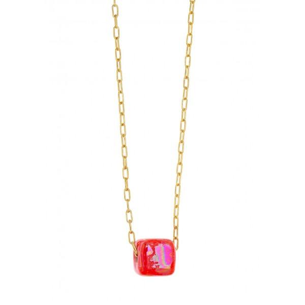 Κολιέ ασήμι 925 επιχρυσωμένο με κόκκινη χάντρα GRE-58557