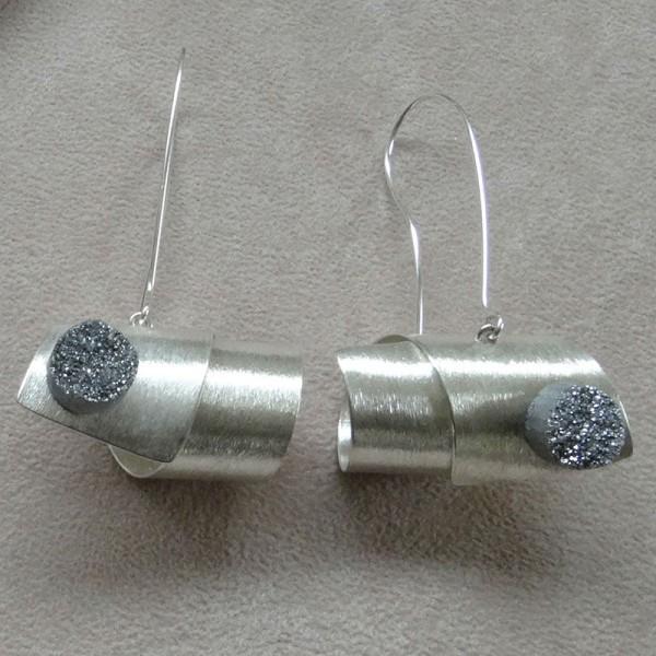 Σκουλαρίκια κρεμαστά ασήμι 925 χειροποίητα ημιπολύτιμη πέτρα aqua aura
