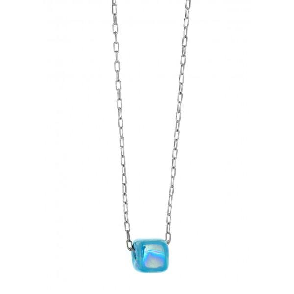 Κολιέ ασήμι 925 επιπλατινωμένο με γαλάζια χάντρα GRE-58561