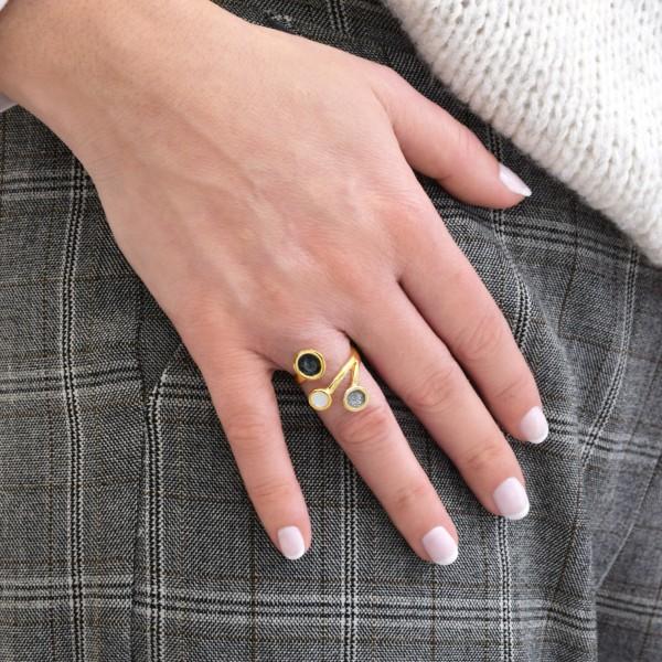 Χειροποίητο δαχτυλίδι ασήμι 950 επιχρυσωμένο με σμάλτο KON-9E14X
