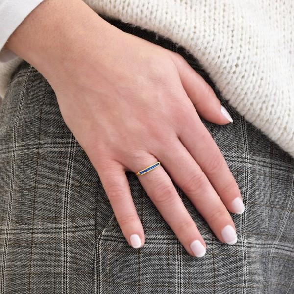 Χειροποίητο παραλληλόγραμμο δαχτυλίδι ασήμι 950 επιχρυσωμένο με σμάλτο KON-125EX