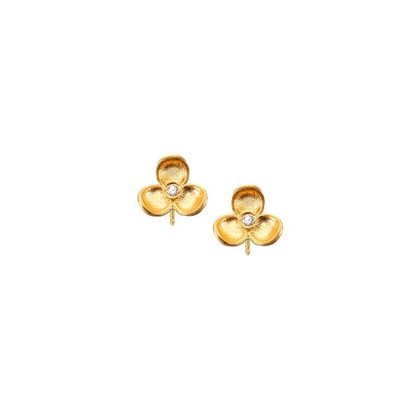 Χειροποίητα Καρφωτά Σκουλαρίκια Λουλούδι Χρυσό Κ14 KRI-S/M34