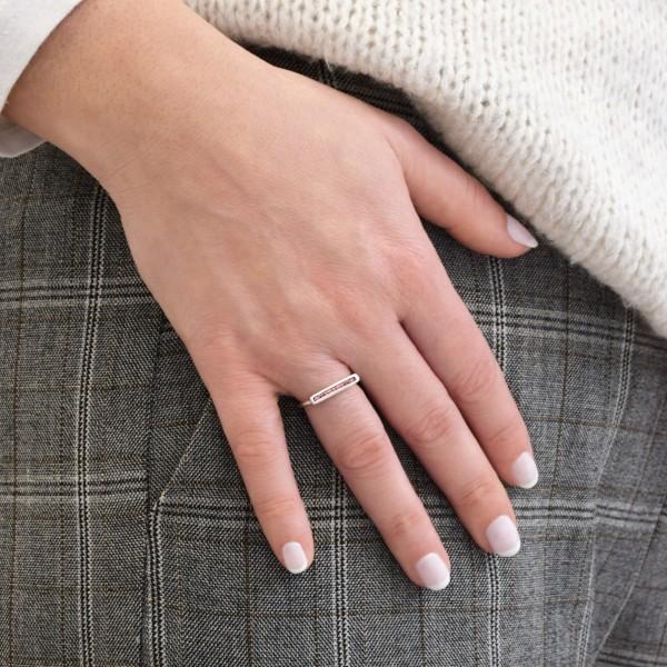 Χειροποίητο παραλληλόγραμμο δαχτυλίδι ασήμι 950 επιπλατινωμένο με σμάλτο KON-125E