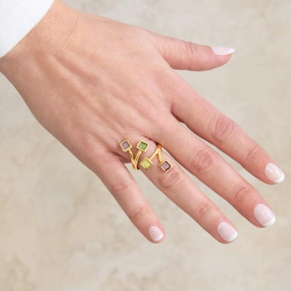 Χειροποίητο δαχτυλίδι ασήμι 950 επιχρυσωμένο με σμάλτο KON-20E10X