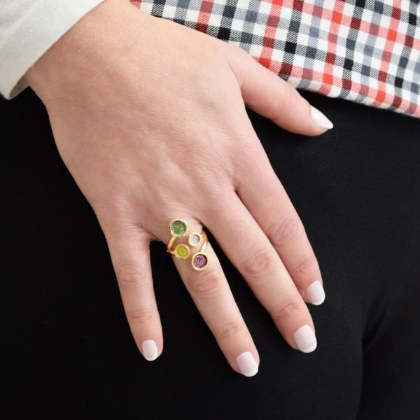 Χειροποίητο δαχτυλίδι ασήμι 950 επιχρυσωμένο με σμάλτο KON-10E10X