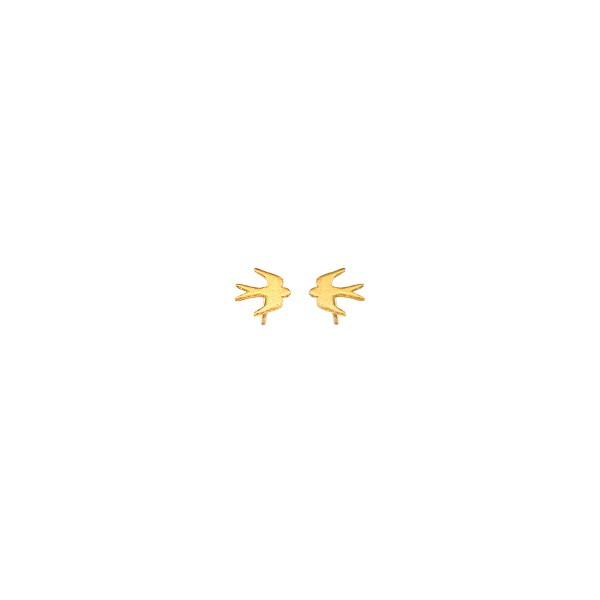 Χειροποίητα Καρφωτά Σκουλαρίκια Χελιδόνια Χρυσό Κ14 KRI-S/P36