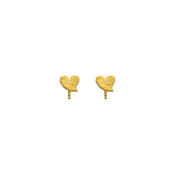 Χειροποίητα Καρφωτά Σκουλαρίκια Καρδιές Χρυσό Κ14 KRI-S/K51