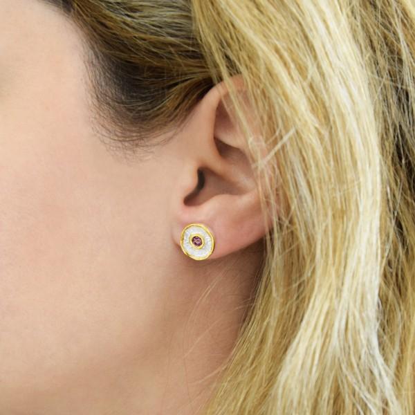Χειροποίητα καρφωτά σκουλαρίκια νούφαρα ασήμι 950 με σμάλτο KON-A58SAX