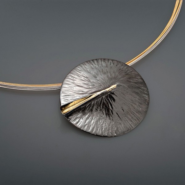 18K gold necklace handmade with silver 925 oxidized