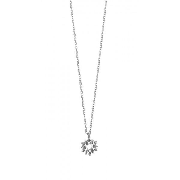 Κολιέ λουλούδι ασήμι 925 επιπλατινωμένο GRE-44083