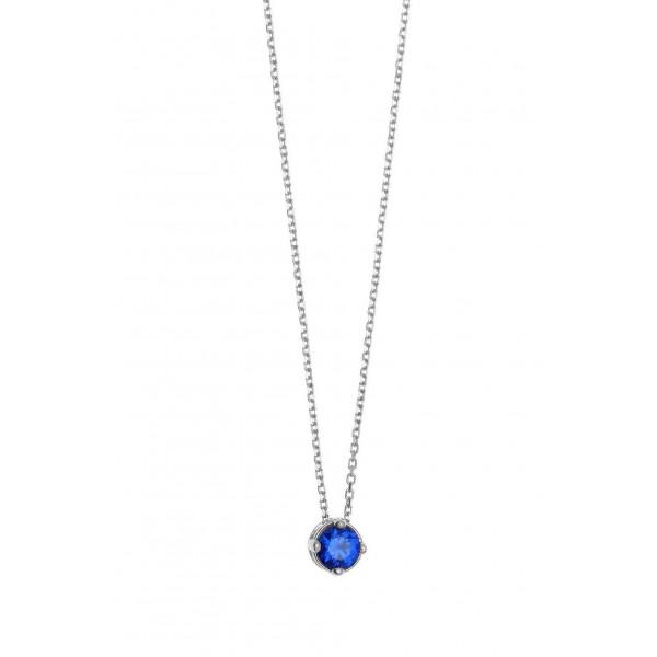 Κολιέ ασήμι 925 επιπλατινωμένο με μπλε ζιργκόν GRE-57351
