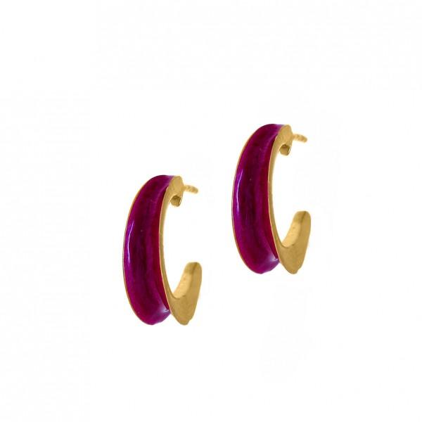 Σκουλαρίκια ασήμι 925 επιχρυσωμένα με σμάλτο GRE-56481