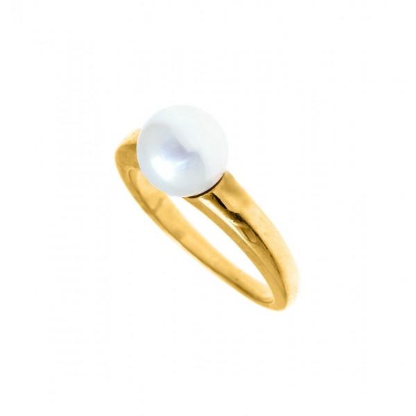 Δαχτυλίδι ασήμι 925 επιχρυσωμένο με μαργαριτάρι GRE-59878