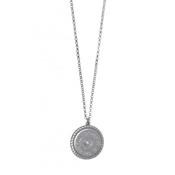 Κολιέ μαμά ασήμι 925 επιπλατινωμένο με ζιργκόν GRE-56084