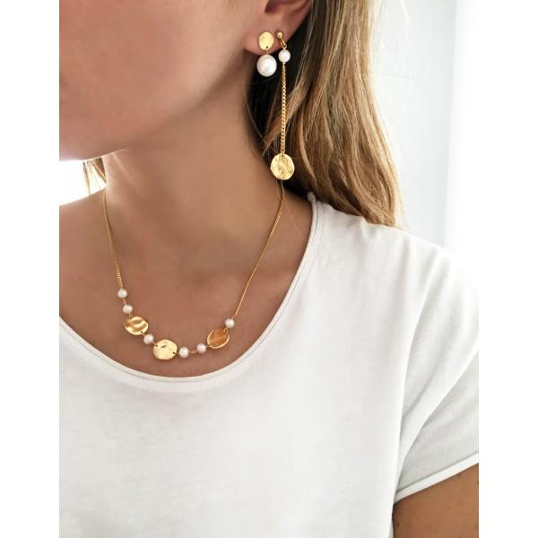 Σκουλαρίκια ασήμι 925 επιχρυσωμένα με πέλρες GRE-54379