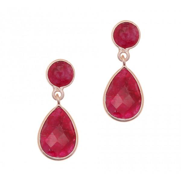Σκουλαρίκια δάκρυ ασήμι 925, με ροζ επιχρύσωση και ρουμπίνια GRE-38563