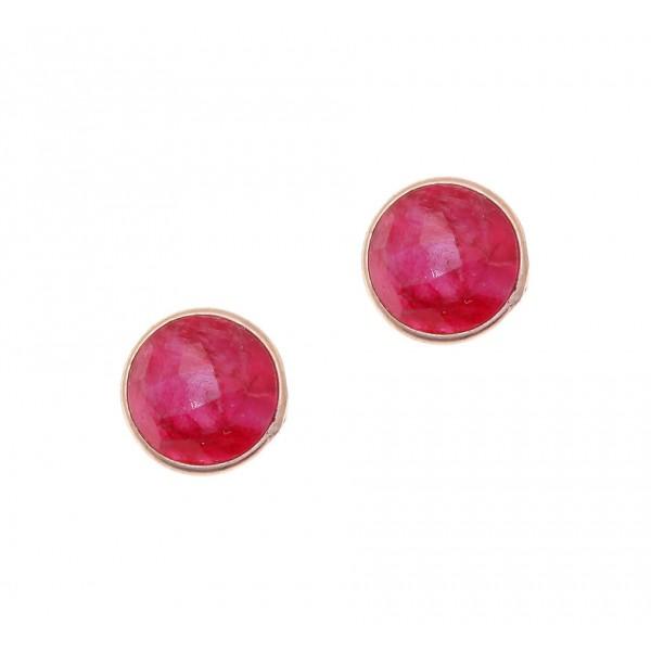 Σκουλαρίκια ασήμι 925, με ροζ επιχρύσωση και ρουμπίνια GRE-38557