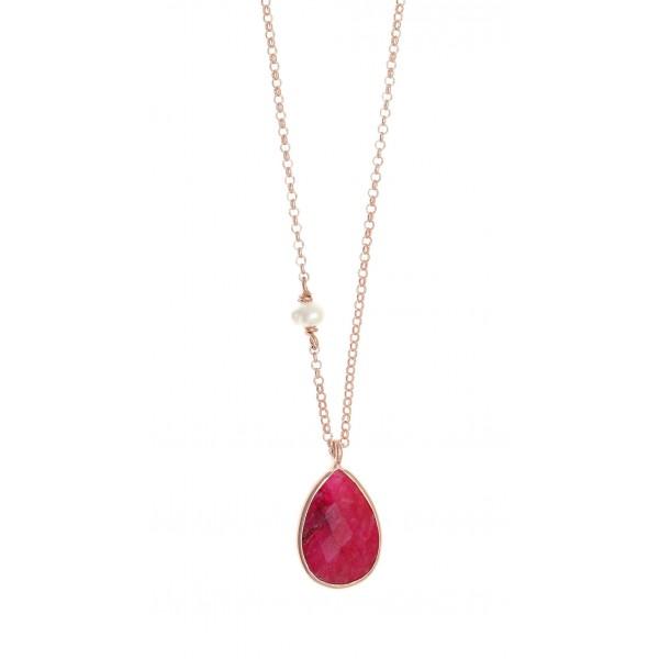 Κολιέ δάκρυ ασήμι 925 με ροζ επιχρύσωση και ρουμπίνι GRE-38499