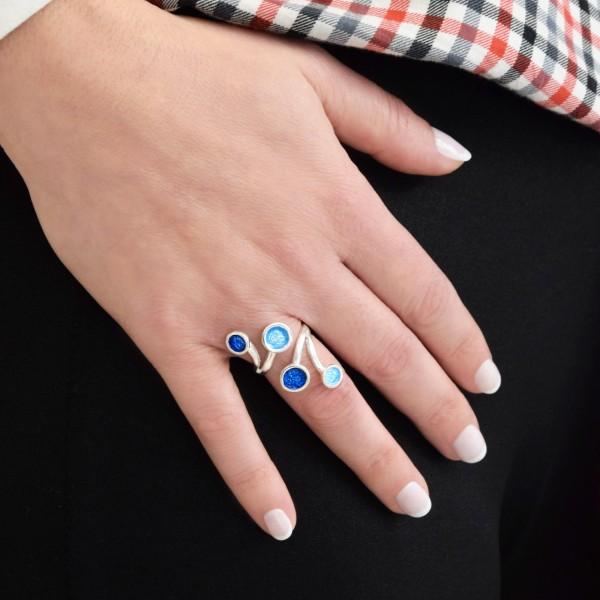 Χειροποίητο δαχτυλίδι ασήμι 950 επιπλατινωμένομε σμάλτο KON-11E8