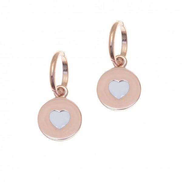 Σκουλαρίκια καρδιές ασήμι 925 με ροζ επιχρύσωση και σμάλτο GRE-500961