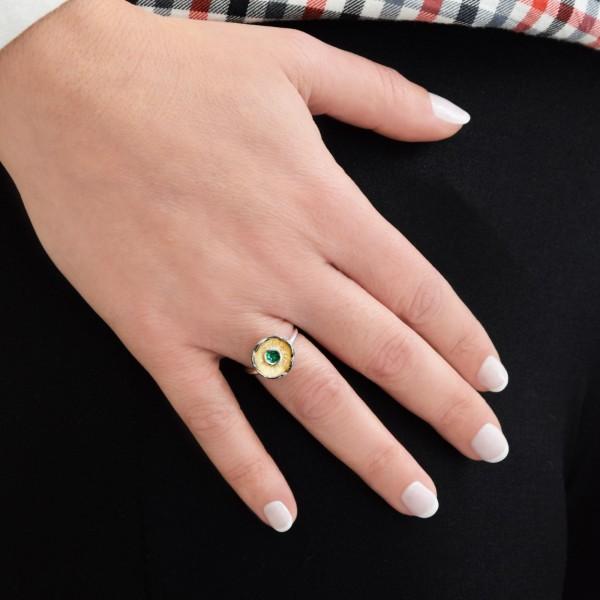 Δαχτυλίδι χειροποίητο σφυρήλατο ασήμι 950 και σμάλτο ανοιγοκλειόμενο