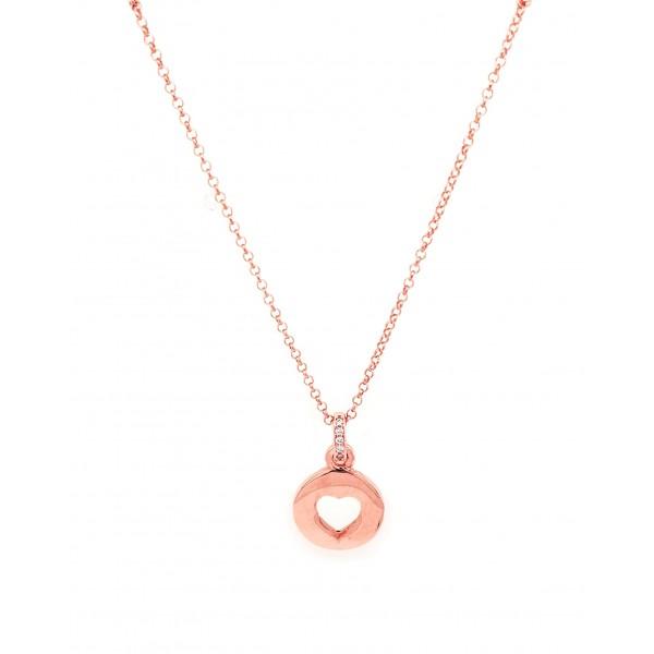 Κολιέ καρδιά ασήμι 925 με ροζ επιχρύσωση και σμάλτο GRE-500887