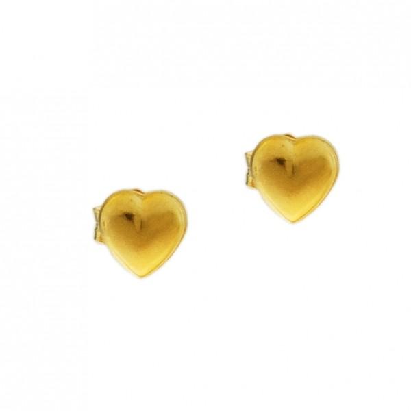 Σκουλαρίκια καρδιές ασήμι 925 επιχρυσωμένα GRE-60338