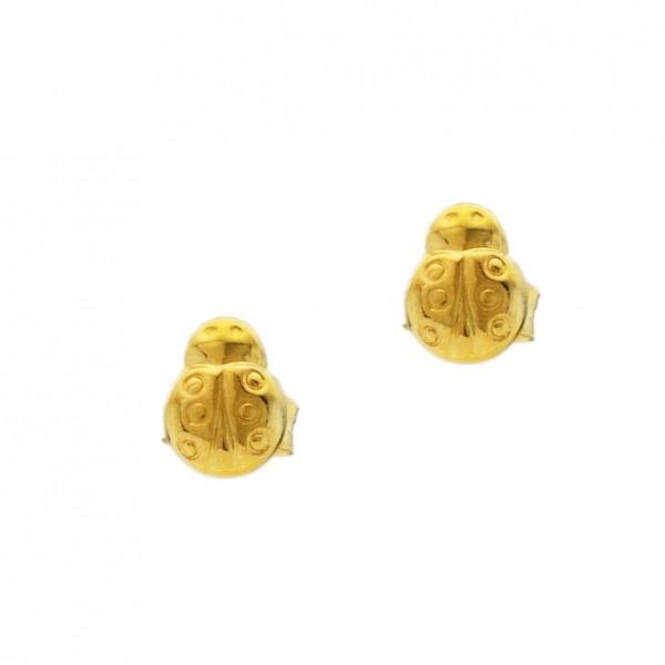 Σκουλαρίκια πασχαλίτσες ασήμι 925 επιχρυσωμένα GRE-60341