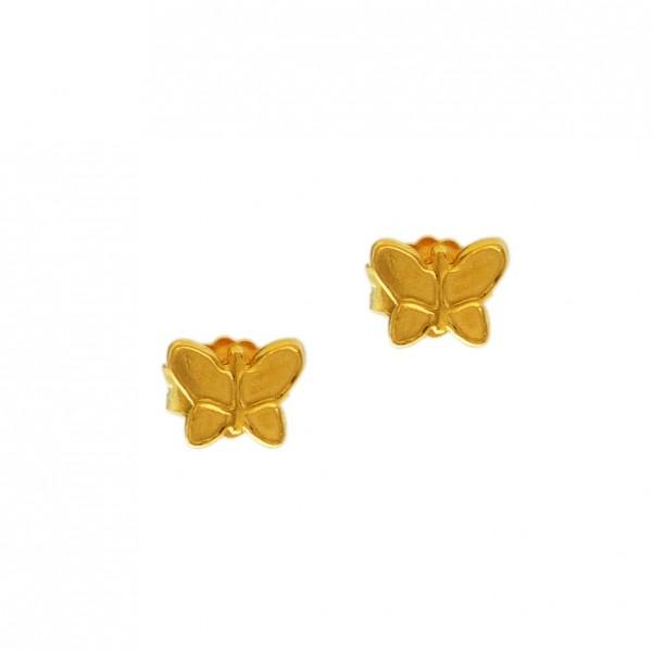 Σκουλαρίκια πεταλούδες ασήμι 925 επιχρυσωμένα GRE-60343