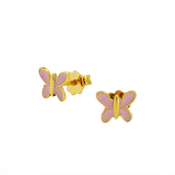 Σκουλαρίκια πεταλούδες ασήμι 925 επιχρυσωμένα με σμάλτο GRE-60010