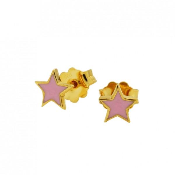 Σκουλαρίκια αστέρια ασήμι 925 επιχρυσωμένα με σμάλτο GRE-60014