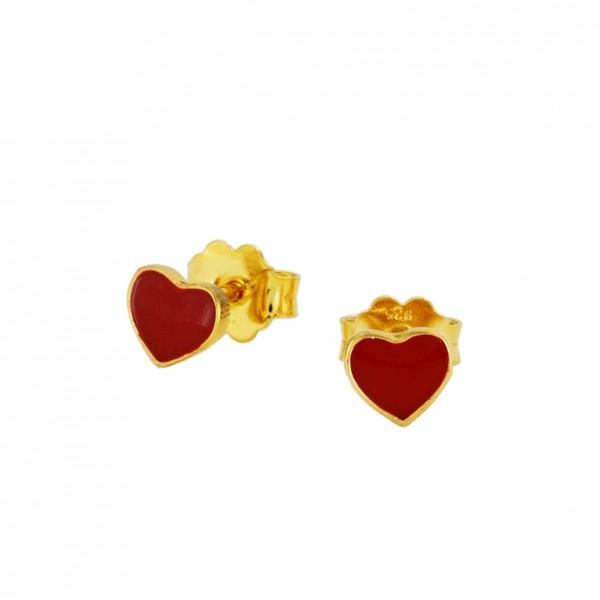 Σκουλαρίκια καρδιές ασήμι 925 επιχρυσωμένα με σμάλτο GRE-60027
