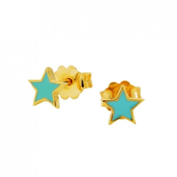 Σκουλαρίκια αστέρια ασήμι 925 επιχρυσωμένα με σμάλτο GRE-60026