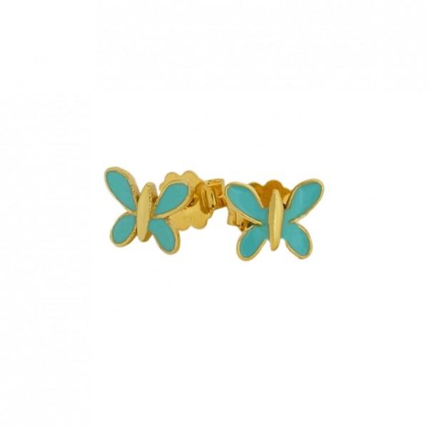 Σκουλαρίκια πεταλούδες ασήμι 925 επιχρυσωμένα με σμάλτο GRE-60024