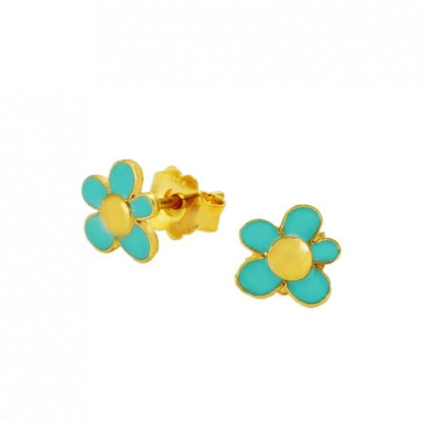 Σκουλαρίκια λουλούδια ασήμι 925 επιχρυσωμένα με σμάλτο GRE-60022