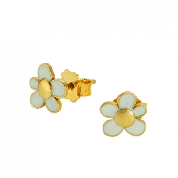 Σκουλαρίκια λουλούδια ασήμι 925 επιχρυσωμένα με σμάλτο GRE-60025