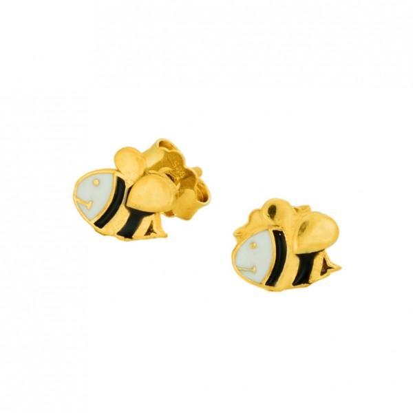 Σκουλαρίκια μελισσούλες ασήμι 925 επιχρυσωμένα με σμάλτο GRE-60016